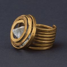 Ring | Alexander Calder.  ca 1930s - 1940s.  Brass and glass (crystal) #ring