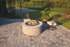 Complete fire pit kit !! no cutting, just open pallet and glue together. Available at 856-740-1445 www.bflandscape.com