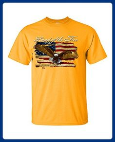 Lifestyle39 US Land Of The Free Eagle Flag Shirt, USA Flag Shirt, American Flag Shirt Gold Small - Cities countries flags shirts (*Amazon Partner-Link)