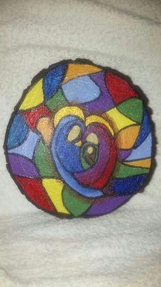 Pesebre pintado en rodaja de madera