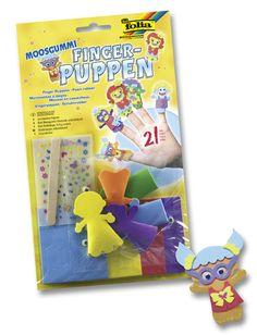 Moosgummi - Fingerpuppen verschiedene Figuren mit komplettem Zubehör. Die Motive sind Kinder, Zootiere, Unterwassertiere. Mehr unter www.folia.de