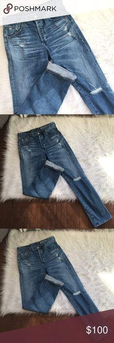 AG slone distressed jeans Excellent used condition Ships fast  Make me an offer Ask questions No trades Ag Adriano Goldschmied Jeans Straight Leg