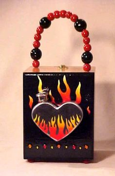 FLAMING HEART FLASK Cigar Box Purse by SuperVixenBadGirl on Etsy, $55.00