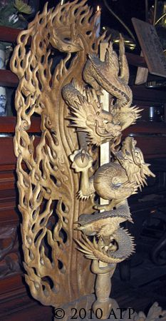 Japanese dragon carving at Itsukushima Shrine in Japan. View #2.