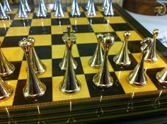 Mid-century metallic chess set.