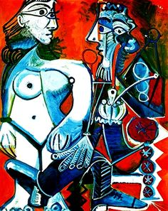"""Standing female nude and man with pipe"".....Artist: Pablo Picasso Completion Date: 1968 Style: Surrealism Period: Later Years Genre: genre painting."