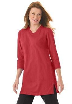 Woman Within Plus Size Top, The Perfect Tunic With 3/4 Sleeves for only $6.99 You save: $7.00 (50%)