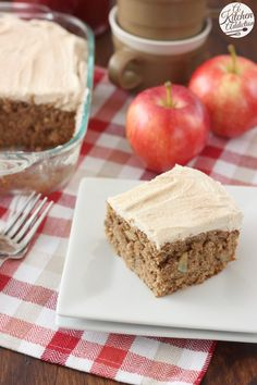 Apple Cake with Maple Buttercream Frosting Recipe from @akitchenaddict