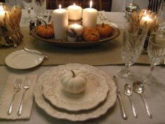 Thanksgiving Tablescape in Cream with Natural Elements