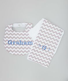 Gray & White Zigzag Personalized Bib & Monogram Burp Cloth by Lil Peeps Boutique