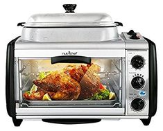 NutriChef Dual Countertop Toaster Oven - Perfect for Multi Baking Sear Simmer Saute & Rotisserie - Include Kitchen Bakeware Set Cooking Pot Wire Grill & Bake Tray with Quart Food Capacity Baking Appliances, Kitchen Appliances, Dual Oven, Portable Charcoal Grill, Oven Cooker, Modern Food, Large Oven, Diy Countertops, Batch Cooking