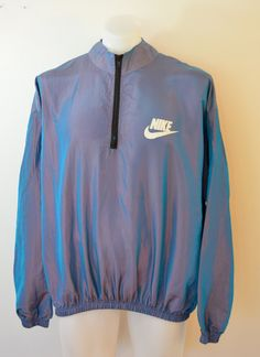 Vintage NIKE Iridescent windbreaker jacket pullover 1980's made in USA by ilovevintagestuff on Etsy