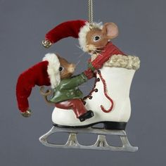 from the mouseville collection by kandy schlesingere item mouseville mice on ice skate christmas ornaments - Kurt Adler Christmas