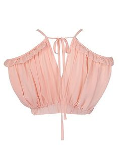 Shop Pink Sweetheart Ruffle Detail V Back Crop Top from choies.com .Free shipping Worldwide.$5.9