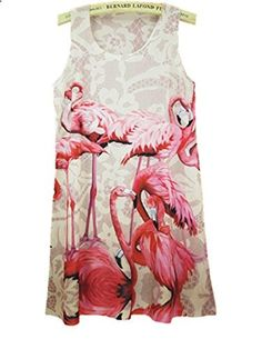 YICHUN Summer Long Loose Large Tops Sleeveless Tunic Flamingo Women Vest Tanks. More description on the website.
