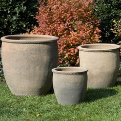 Campania International Egg Pot Planter - Set of 3 - SandBlasted