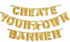 Items similar to Gold DIY Customizable Banner For All Occasions on Etsy Eid Banner, Diy Party Banner, Tea Light Candles, Tea Lights, Eid Mubarak Stickers, Create Your Own, Create Yourself, Eid Party, Theme Color
