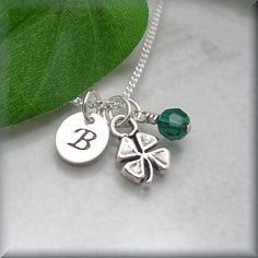 Four Leaf Clover Initial Birthstone Necklace Sterling Silver Good Luck Charm Jewelry Personalized (SN624,625)