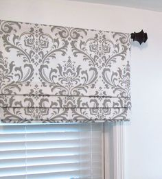 Reserved for Heather Custom Made Gray Faux Roman Shade Lined Storm Grey Damask Mock Roman Valance