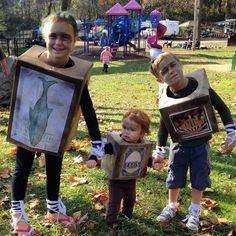 I DIY-ed my kids costumes this year and they were Boxtrolls. India was Fish who raised a boy named Eggs (Dietrich) from a baby. And Blaise is Oil Can who is a sweet boxtroll who likes helping others fix their squeaky things. :)