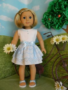 """18 inch doll clothes, American Girl doll clothes Summer dress for 18"""" American Girl doll outfit"""