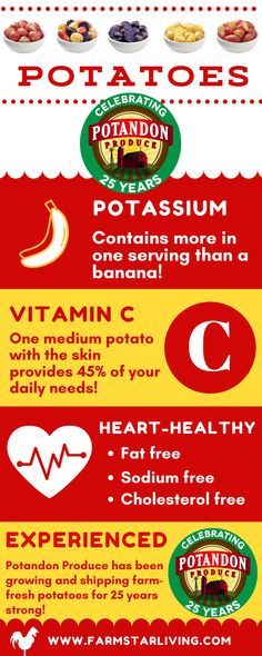 Potassium-rich, excellent source of vitamin C, and heart-healthy. No, we're not talking about fruit.here's how POTATOES measure up! Potato Nutrition, Health And Nutrition, Health Tips, Potato Health Benefits, Healthy Potatoes, Daily Meals, Balanced Diet, Serving Size, Meals For One