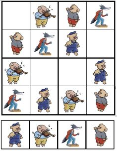 Sudoku De 3 biggetjes (01) Puzzle Club, Social Emotional Activities, Famous Fairies, Sequencing Cards, Big Bad Wolf, Three Little Pigs, Preschool Worksheets, Stories For Kids, Nursery Rhymes