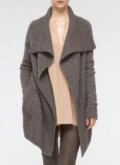 VINCE Honeycomb knit wool/yak wool cardigan sweater jacket in Gray sz S,M,L $395