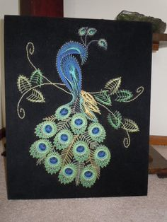 Vintage Peacock String Art Wall Hanging Decor Velvet Backed