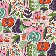 Fresh pattern… straight from the market:). So far, this summer has been busy, … - Obst Fruit Illustration, Magazine Illustration, Rabbit Illustration, Summer Patterns, Pretty Patterns, Fruit Pattern, The Bride, Graphic Patterns, Abstract Pattern