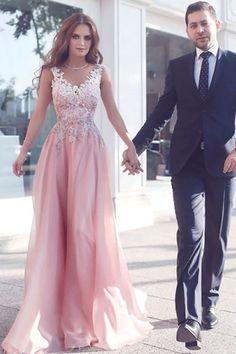 Cheap Nice Pink Prom Dresses,Sleeveless Prom Dresses, Applique Evening Dresses, Floor-length Evening Dresses #eveningdresses #promdresseslong #lacedresses