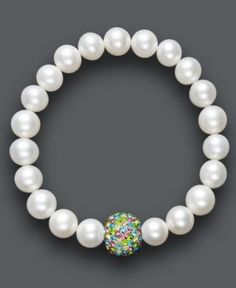 Pearl Bracelet, Cultured Freshwater Pearl and Multicolor Crystal Bead Bracelet - Bracelets - Jewelry & Watches - Macy's