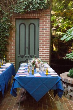 Reception Table Decor Long Tables Blue Tablecloth | Firehouse-Restaurant-Wedding-Old-Town-Sacramento-Wedding-Photographer