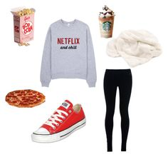 """""""Netflix night!"""" by emmamack-1 ❤ liked on Polyvore featuring NIKE, Converse, Picnic Time and Dot & Bo"""