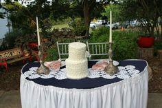 Vintage wedding Marine, pale pink.  Cake. Candles. Table decoration. Flowers.