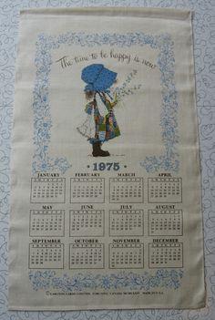 Holly Hobbie 1975 calendar linen tea towel.