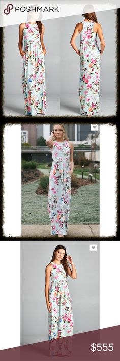 """IT'S HERE! Mint Floral Racerback Maxi Dress Gorgeous mint Floral poly spandex racer back hi Low maxi dress with hidden pockets. Bodice is lined. 95% polyester 5% spandex. * Made in U.S.A.                                Measurements: Small armpit to armpit= 15"""" Medium armpit to armpit = 16"""" Large armpit to armpit = 17"""" XL armpit to armpit= 18"""" Length : 59"""" - 60 Dresses Maxi"""