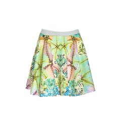 NaughtyDog SS15 laser cut scuba skirt decorated with flowers & jewels prints.