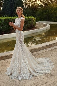 Glamour and elegance, our high neck mermaid wedding dress is like a work of art. Made of tulle with a geometric glistening pattern and sheer cutouts throughout the bodice this gown will make a statement. Western Wedding Dresses, Best Wedding Dresses, Bridal Dresses, High Neck Wedding Dresses, Wedding Gowns, Tent Wedding, Long Dresses, Maxi Dresses, Wedding Events