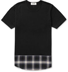Aloye - Panelled Checked Cotton-Jersey T-Shirt Mens Tee Shirts, Jean Shirts, T Shirt, Fashion Advice, Fashion News, Mens Fashion, Luxury Fashion, Menswear, Just For You