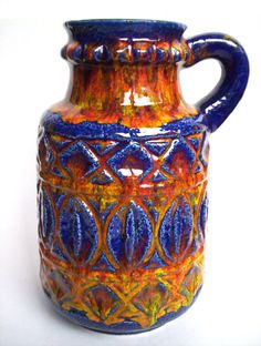 Keramik BAY Vase 95 25 Bodo Mans pottery Fat Lava era West-Germany vintage 25cm
