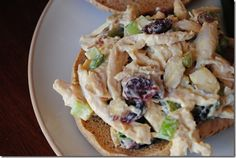 Leaner version of chicken salad with Plain Greek Yogurt instead of Mayo.
