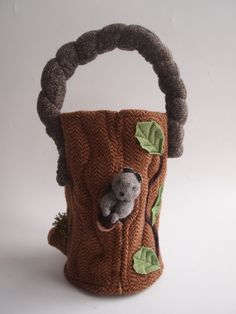 Easter basket, Waldorf Toy Bag, eco friendly toy, all natural toy, upcycled toy. $35.00, via Etsy.