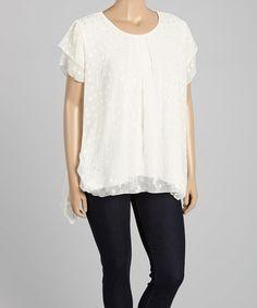Look at this #zulilyfind! White Abstract Overlay Sidetail Tunic - Plus by Seven Karat #zulilyfinds