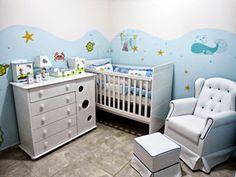 Vivendo em NY: Quarto do Davi - Fundo do mar/Barco (dica de decor... Beach Theme Nursery, Sea Nursery, Nursery Themes, Baby Boy Rooms, Baby Room, Baby Dresser Organization, Baby Zimmer, Room Paint, Baby Decor
