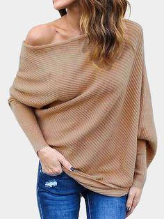 Women/'s Long Sleeve Loose  Sweater Jumper Tops Tunic Sweater Dress USA