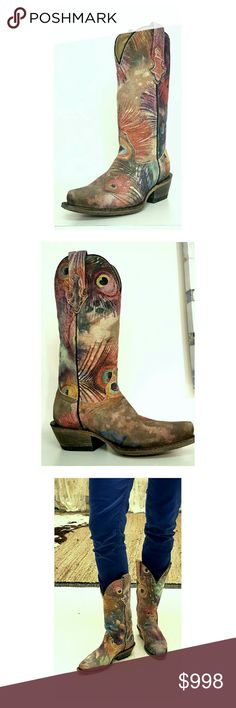 "O.M.G. They're In ♥ Cara Cowgirl Boots No words needed for these beauties!   ✴Handcrafted in Mexico for CoFi leathers ✴100% High Quality Genuine printed leather ✴Traditional western-style topline with pull on straps and pointed toe ✴Stunning peacock design, hand painted using a patented technique ✴Distressed Leather sole ✴Stacked 2.5"" heel ✴Pattern placement will vary from shoe to shoe ✴Limited supply, ONLY 1 OF EACH SIZE  ***PRICE IS FIRM, NO OFFERS, NOT ELIGIBLE FOR BUNDLING*** CoFi…"