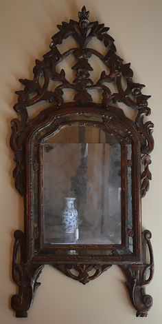 Italian, Neoclassical period silver-leaf mirror: With original mercury glass.  Late 18th century.