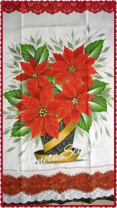 Vaso Janete Seibert Scrap, Tableware, Christmas, Floral, Dish Towels, Creative, Fabric Painting, Dishes, Tejidos