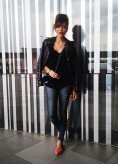 ASHLEY MADEKWE Ring my bell leather jacket and red lipstick <3
